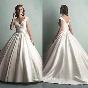 sexy custom satin wedding dress 9155 cinderella ball gown With v neck ball gown wedding dress
