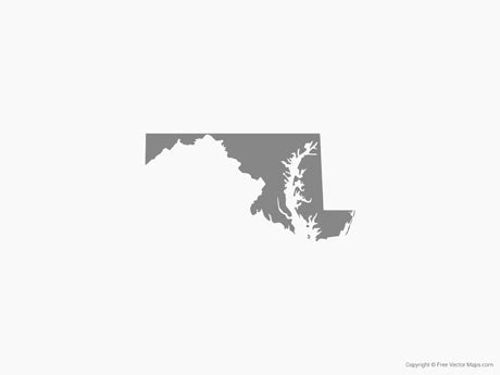 Free svg image & icon. Vector Map of Maryland - Single Color | Free Vector Maps