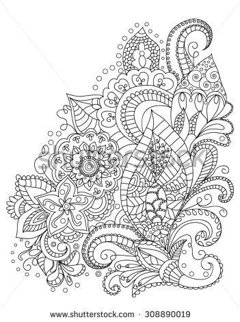Hand-Drawn Henna Abstract Mandala Flowers and Paisley