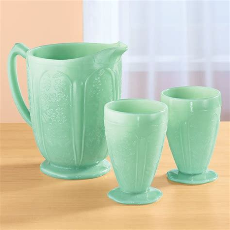 Kitchen Juice Glasses by Jade Green Glass Pitcher And Juice Glasses Reproduction