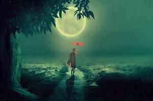 Free, Images, Tree, Moon, Dirt, Road, Monk, Umbrella