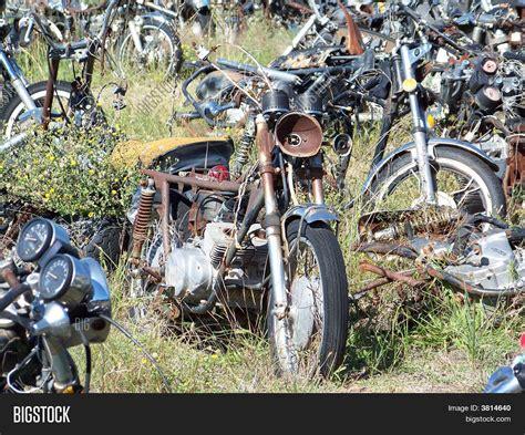 Motorcycle Junk Yard Image & Photo