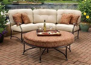 Agio emigh39s outdoor living for Outdoor furniture covers for curved sofa