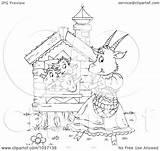 Goat Outline Coloring Waving Mom Royalty Illustration Clip Alex Clipart Bannykh Copyright Regarding Notes sketch template