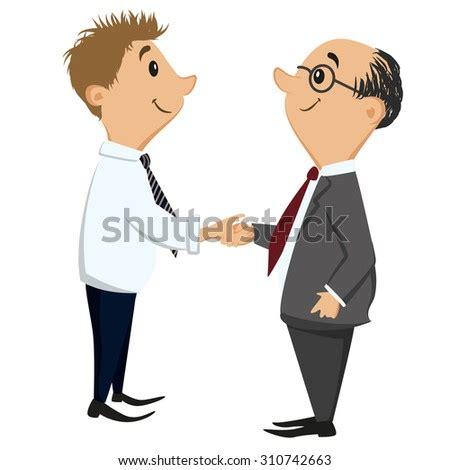 cartoon smiling businessmen contacting making stock