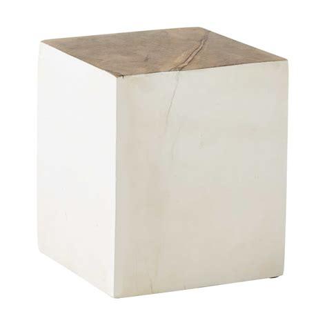 bout de canap 233 en manguier blanc h 30 cm lina maisons du