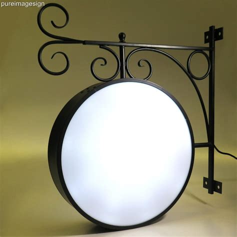 round light box sign cast iron ornamental led 2 sided round outdoor projecting