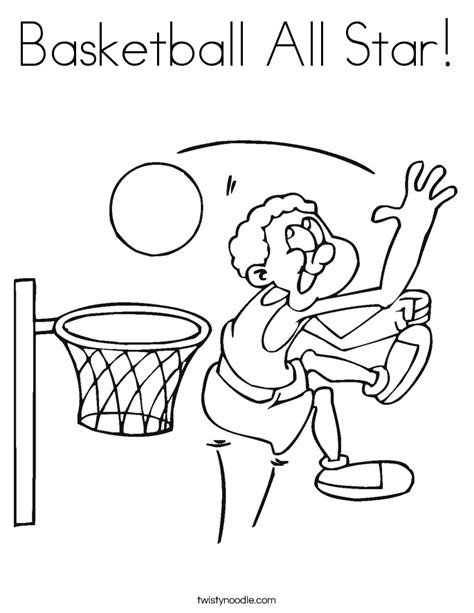 basketball all coloring page twisty noodle