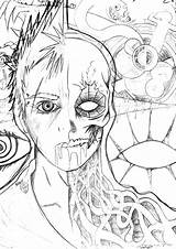 Evil Half Coloring Demon Drawings Skulls Cakechooser Credit Larger Sketch 751px sketch template