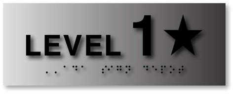 stairwell floor level number signs  brushed aluminum