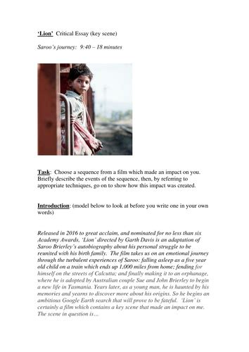 lion dev patel film   long  home essay plan