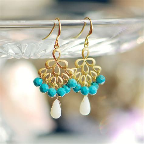 turquoise chandelier earrings turquoise and coral chandelier earrings gold by joojooland
