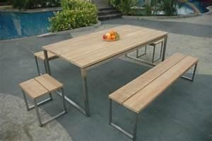 Table En Teck Jardin : table de jardin teck et inox thales naturel meubles de ~ Melissatoandfro.com Idées de Décoration
