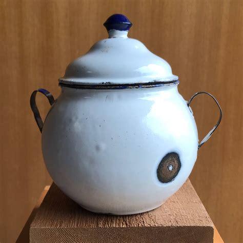 antique french enamel enamelware cookie jar sugar pot
