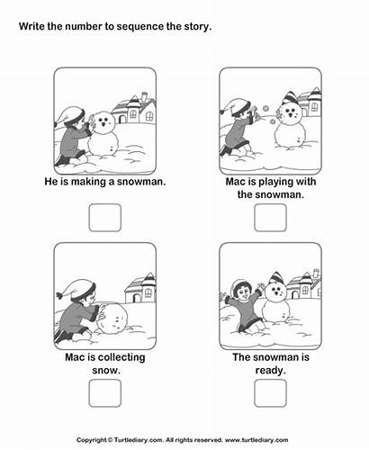 Sequencing Sequence Worksheet Worksheets Story Snowman Grade
