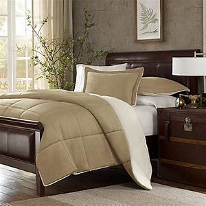 the seasonsr down alternative comforter set in tan bed With bed bath and beyond down comforter queen