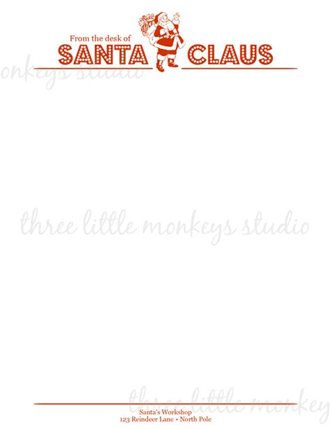 santa letterhead  santa gift tags