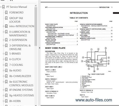 free online car repair manuals download 2005 chrysler pt cruiser electronic valve timing chrysler pt cruiser service manual 2001 2005 pdf