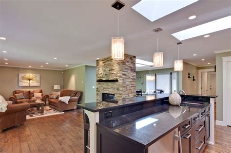 kitchensitting room walk  fireplace contemporary
