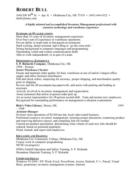 inventory specialist description resume inventory management sle resume