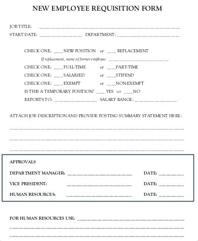 new hire forms template 8 sle employee requisition forms sle templates