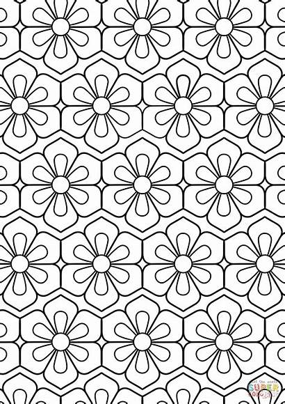 Coloring Pattern Flower Pages Abstract Printable Colouring