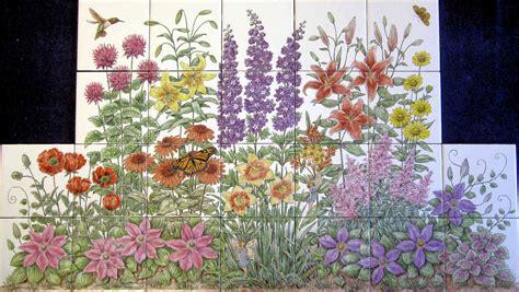 flowers floral garden scenes painted tile murals glass