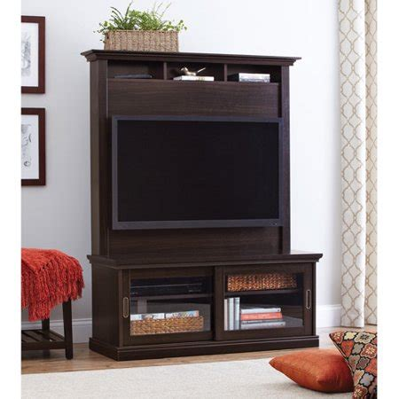 home and garden tv better homes and gardens chocolate oak tv stand with hutch