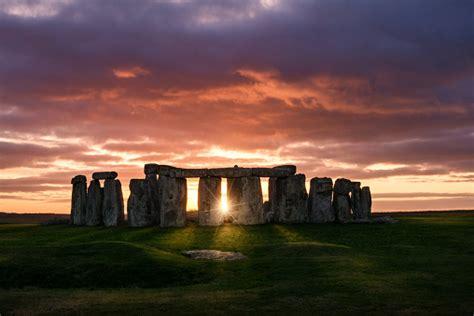 sunset  stonehenge stock photo  image