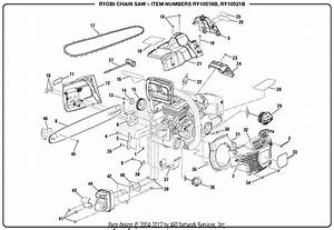 Homelite Ry10521b 46cc Chain Saw Parts Diagram For General