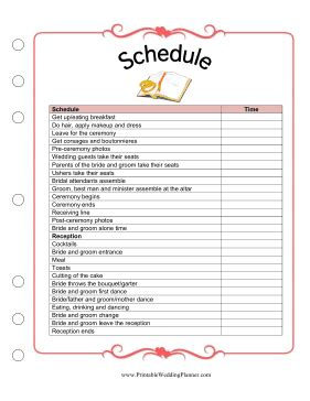 the wedding planner schedule worksheet is a detailed template and checklist for sure