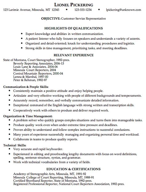 Customer Service Representative Resume Sles by Combination Resume Sle Customer Service Rep