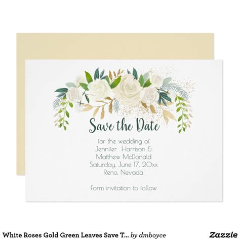 White Roses Gold Green Leaves Save The Date Save The