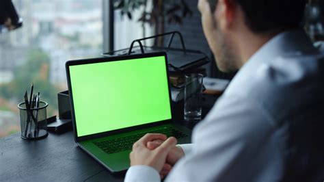 Back view business man having video call on laptop green ...