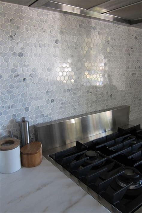 Hexagon Marble Backsplash  Modern  Kitchen Houston