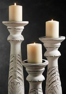 3 white washed wood candle holders 18 quot 15 quot 12 quot