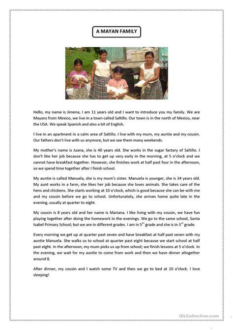 mayan family reading comprehension worksheet
