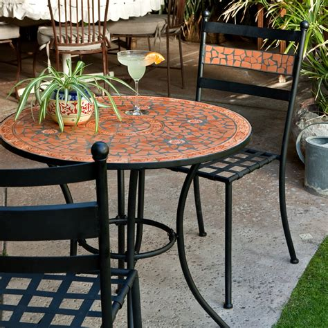 patio bistro set coral coast terra cotta mosaic bistro set outdoor bistro