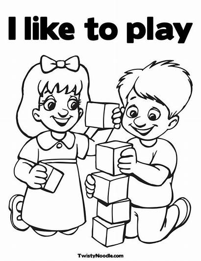 Coloring Children Pages Playing Play Others Drawing