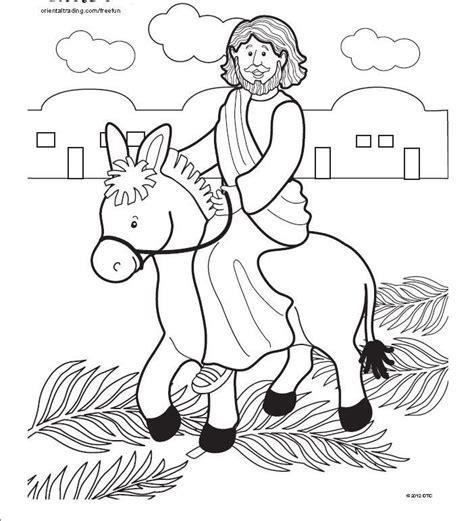 bible story coloring page  jesus triumphant entry  jerusalem jesus riding   donkey