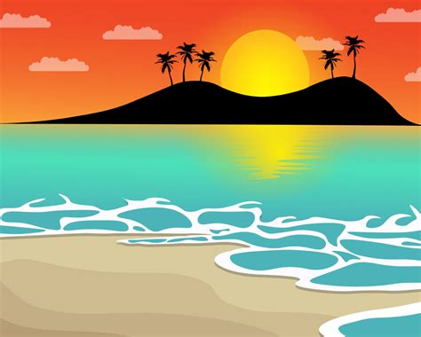 beach sunset vector mockup templates images vectors
