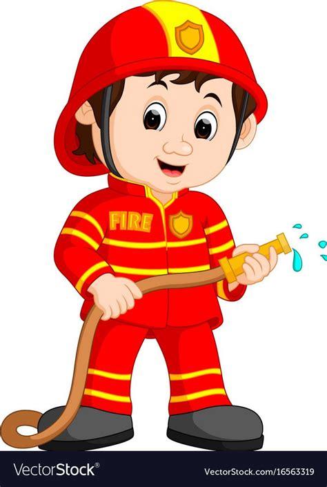 illustration  cute fireman cartoon