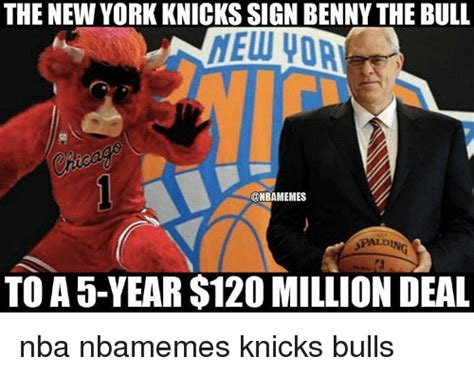 Knicks Meme - the new york knicks sign benny the bull nelu voa onbamemes spaldin to a 5 year 120 million deal