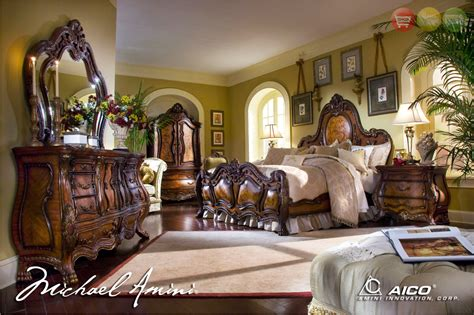michael amini chateau beauvais traditional luxury bedroom furniture set noble bark finish by aico