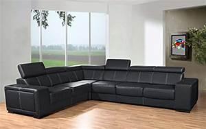 canape d39angle 6 places caaria noir simili cuir moderne With tapis moderne avec canapé d angle 6 places