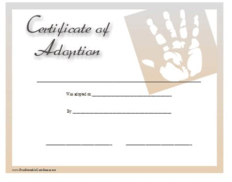 Blank Adoption Certificate Template by Child Adoption Certificate Template Free Sle