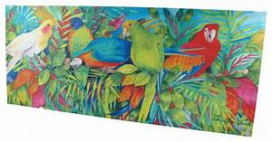 colorful tropical birds printed stretched canvas wall art With kitchen cabinets lowes with always kiss me goodnight framed wall art