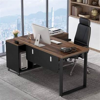 Desk Office Computer Shaped Furniture Executive Drawers
