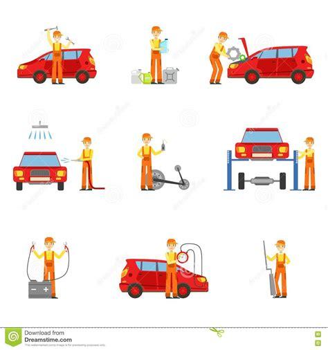 servicios taller de la reparaci 243 n coche fijados de ejemplos ilustraci 243 n vector