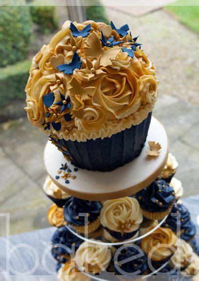 royal blue  gold cupcake wedding tower